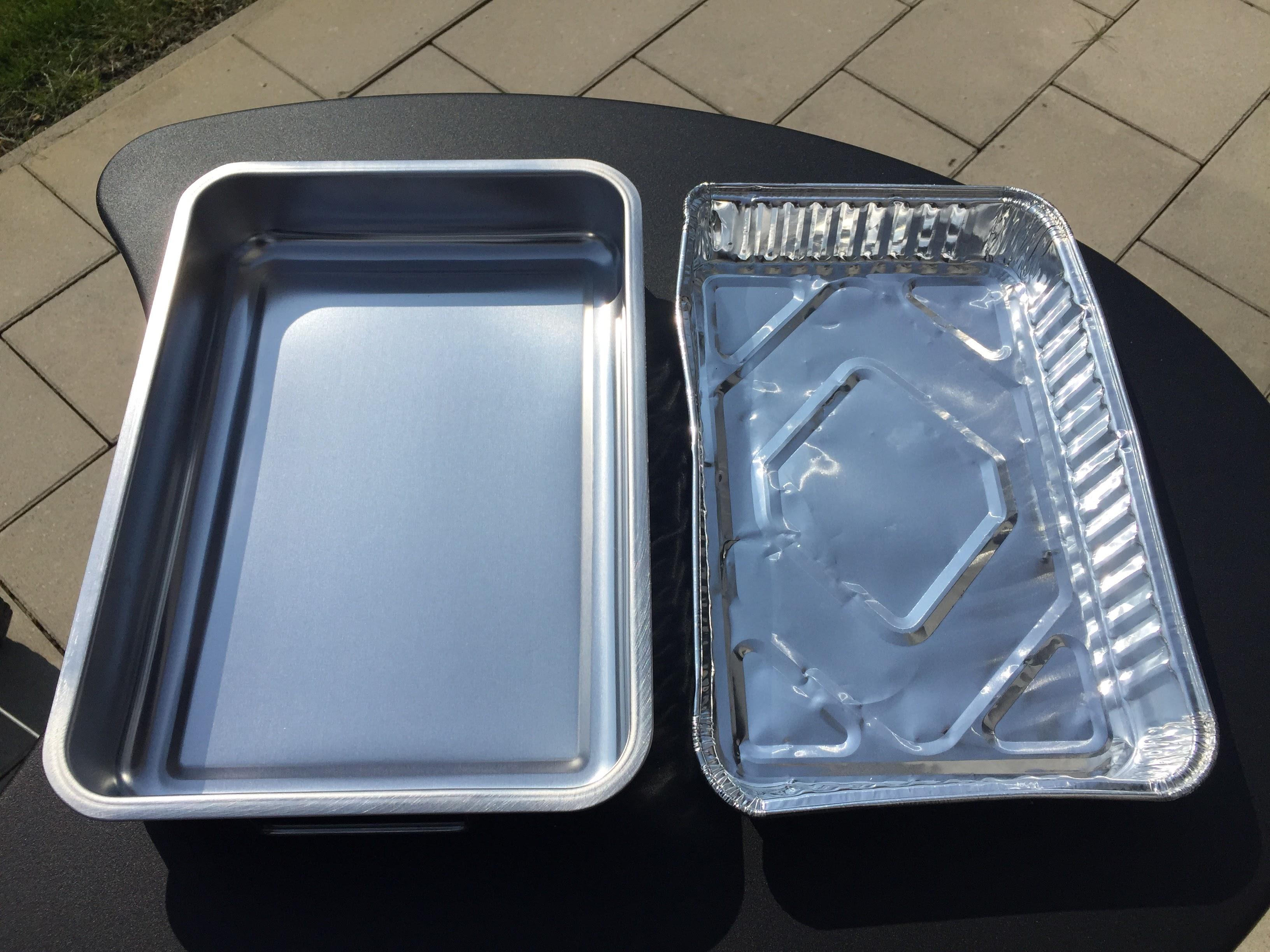 Vergleich Ofenform und Aluschale