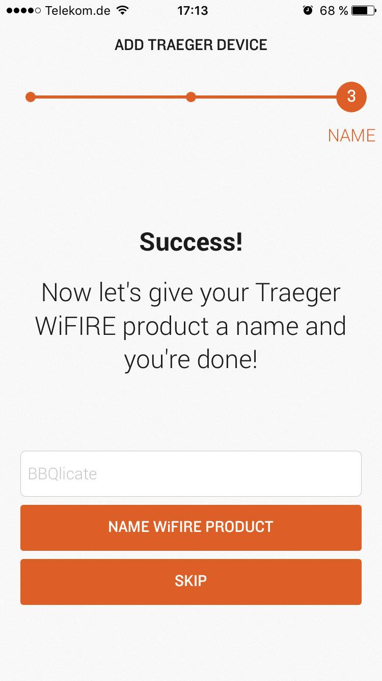 Traeger WiFIRE – Einrichtung erfolgreich